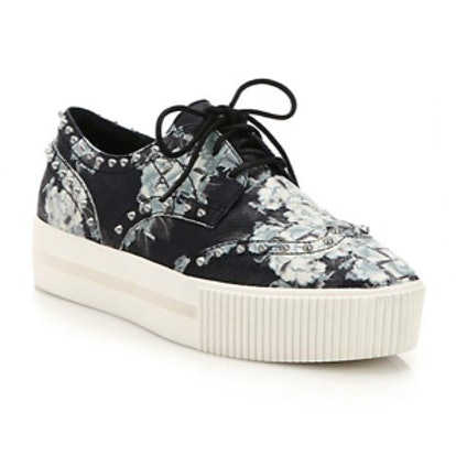 Krush Studded Floral-Print Leather Platform Sneakers