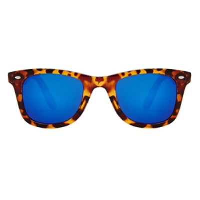 Square Sunglasses with Blue Mirror Lens