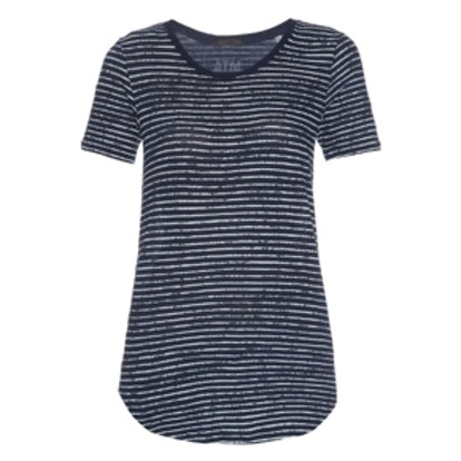 Distressed Strip Cotton T-Shirt