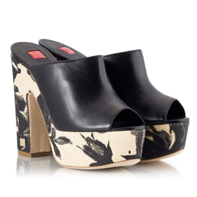 Floral Raffia Platform Mule Sandals
