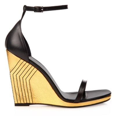 Jane Leather Skinny Wedge Sandals