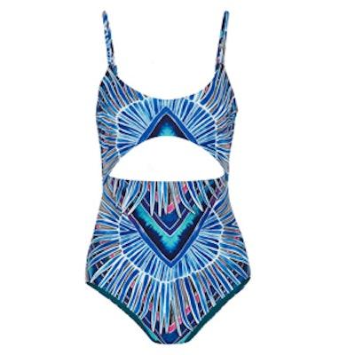 Rising Palm Cutout Printed Swimsuit