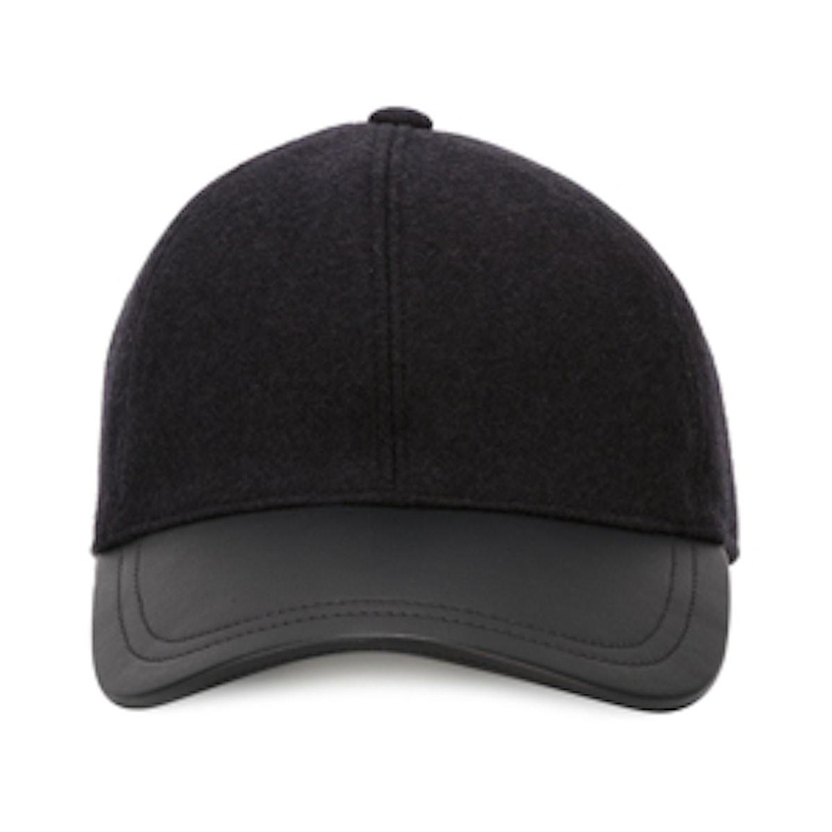 Leather Peak Baseball Cap