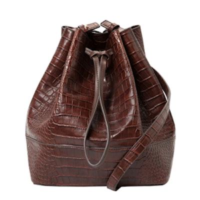 Croc-Effect Drawstring Bucket Bag