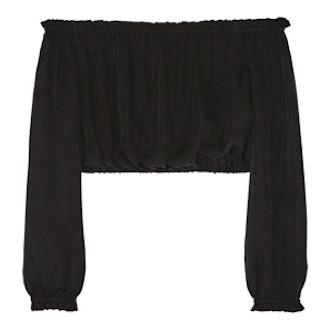 Denny Ruffle Trim Crop Top in Black