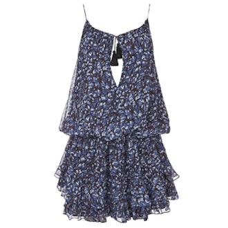 Gathered Tassel Tie Print Dress
