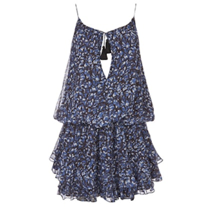 Gathered Tassel Tie Print Dress