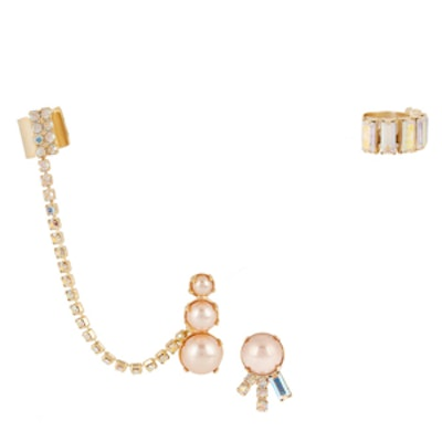 Gold-Plated Swarovski Crystal And Faux Pearl Ear Cuff