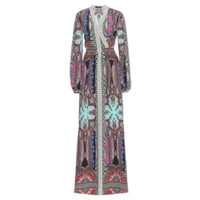 Floor Length Printed Silk Dress