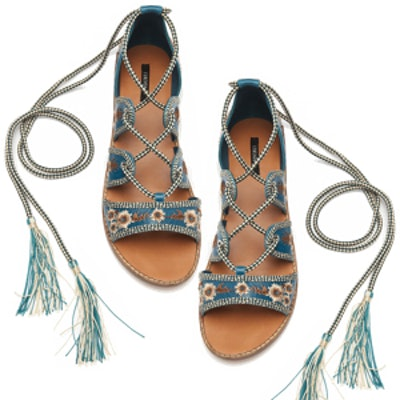 Embroidered Lace-Up Sandals