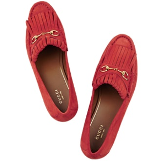 Horsebit-Detailed Fringed Suede Loafers