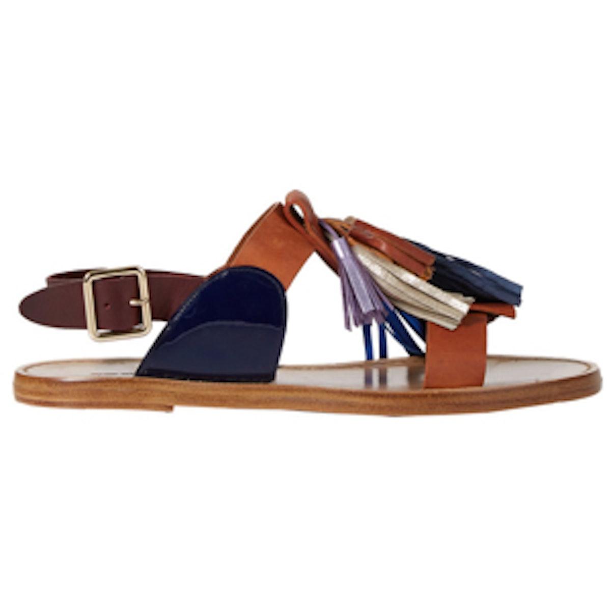 Tassel-Embellished Clay Sandals