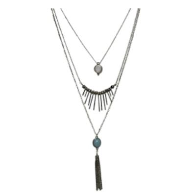Triple Layer Spike Tassel Necklace