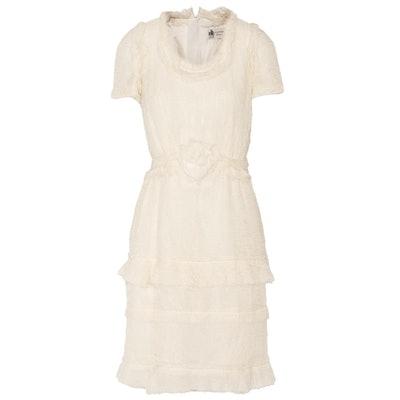 Tiered Crinkled Silk Chiffon Dress