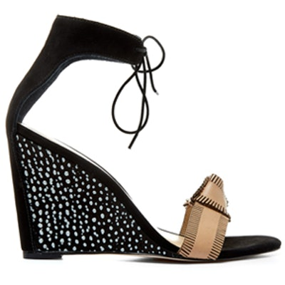 Black Nora Leather Wedge Sandals