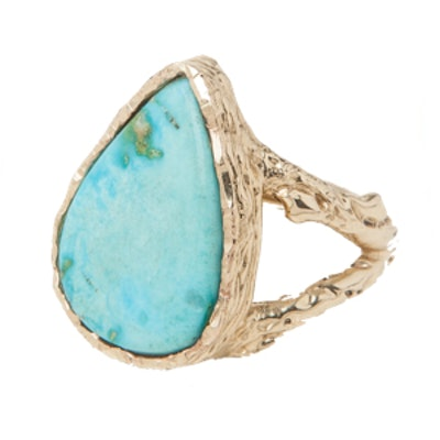 Gold Teardrop Turquoise Ring