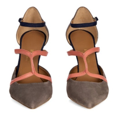 Veronica Tri-Color Suede and Leather Pumps