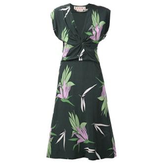 Print Gathered Dress