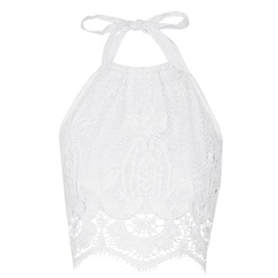 Mari Crocheted Cotton Halterneck Top