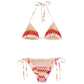 Multicolor Knit Triangle Bikini