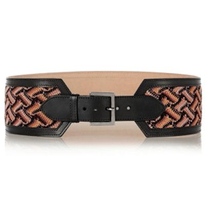 Leather and Crochet-Knit Waist Belt