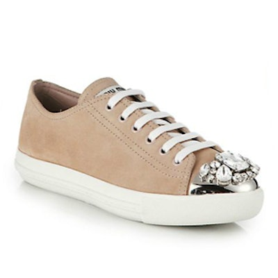 Crystal-Studded Suede Sneakers