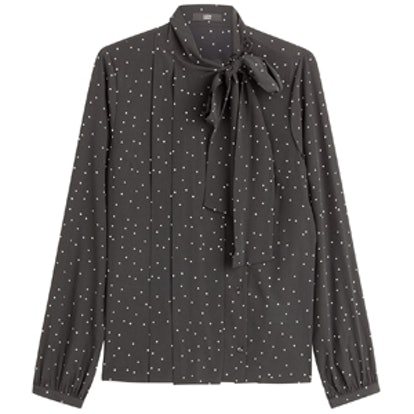 The Bow Avenue Printed Silk Blouse