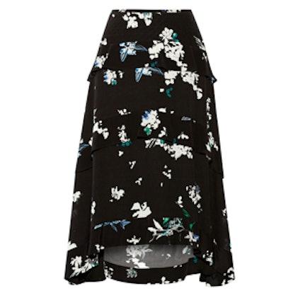 Tiered Floral-Print Silk-Georgette Skirt