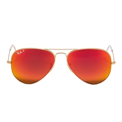 Aviator Large Metal Mirror Sunglasses