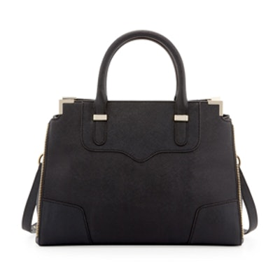 Amourous Saffiano Satchel Bag in Black