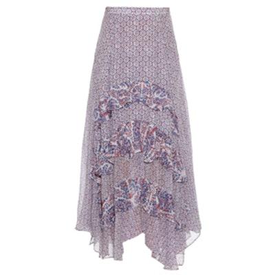 Printed Ruffled Tiered Silk Skirt