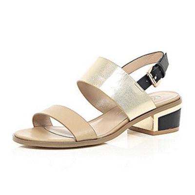 Beige Block Heel Sandals