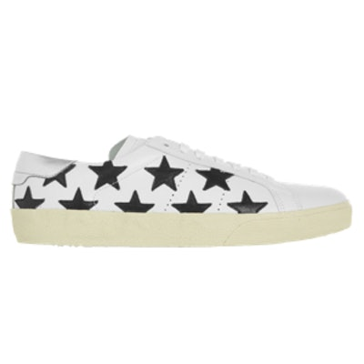 Court Classic Star-Appliquéd Leather Sneakers