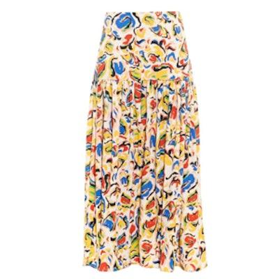 Alicia Paint-Print Cady Skirt