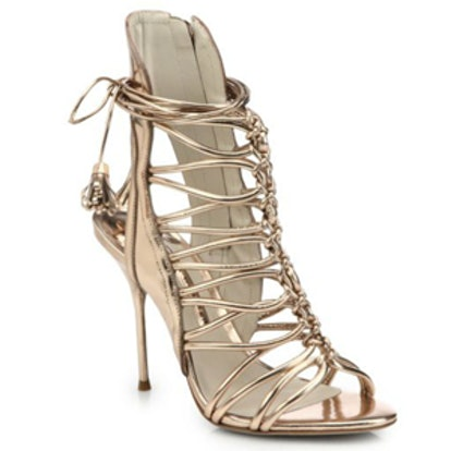 Lacey Metallic Leather Strappy Sandals