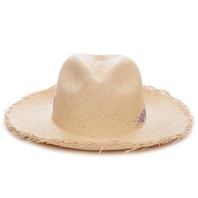Natural and Purple Stitch Montauk Panama Hat