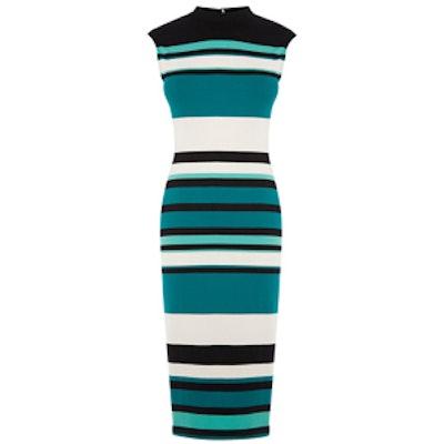 Photographic Stripe Tube Dress