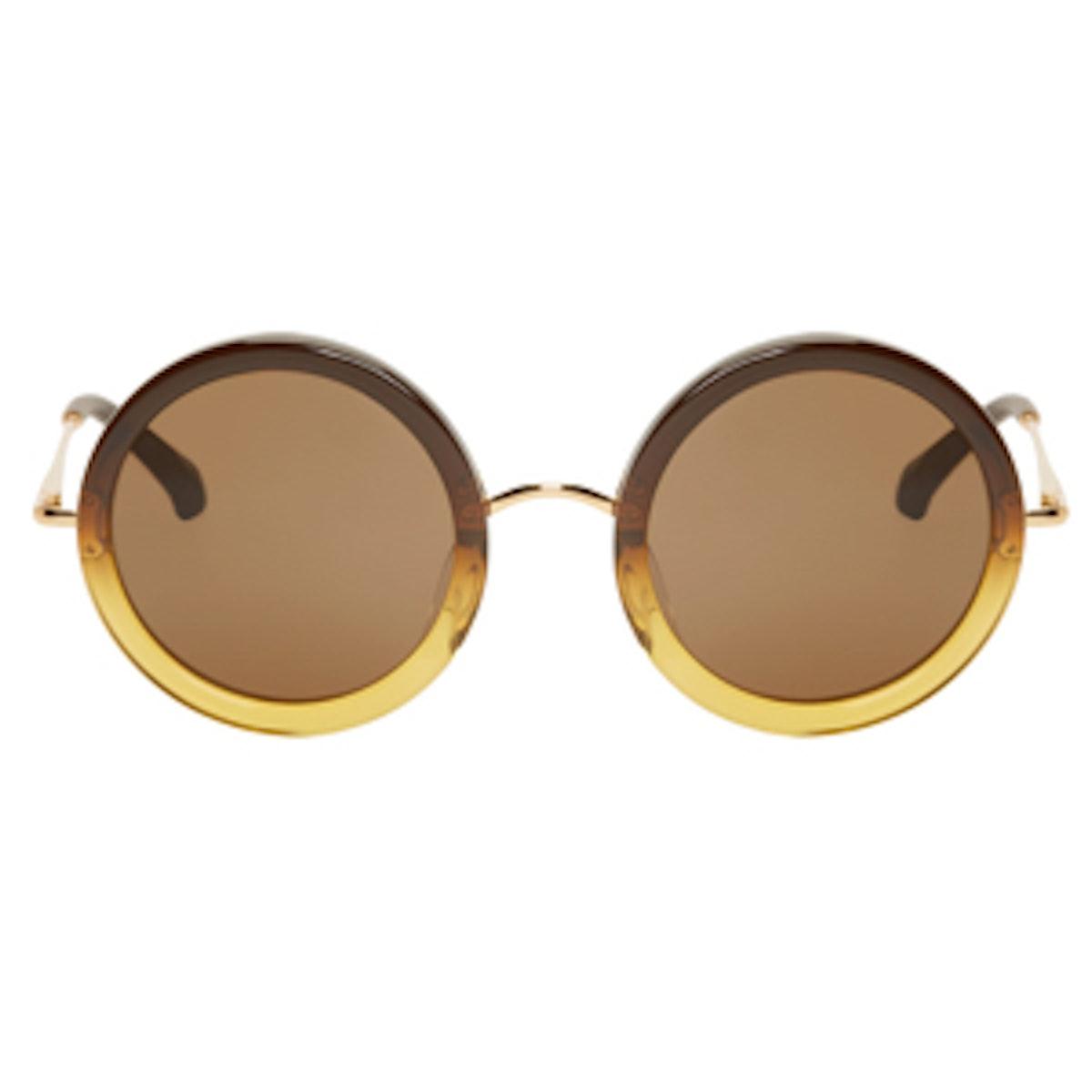 Ochre Gradient Round Sunglasses