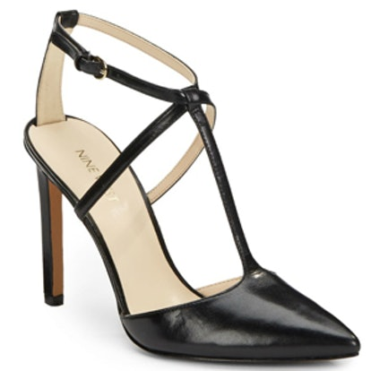 Leather T-Strap Point Toe Pumps