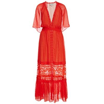 Mandarin Red Long Holzer Dress