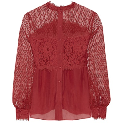 Constance Lace and Crepe Blouse