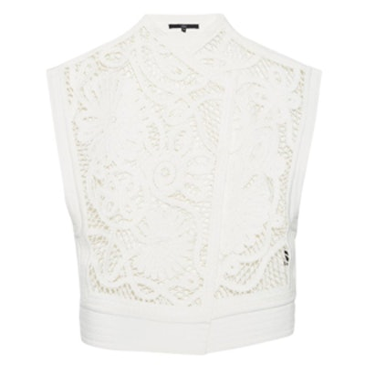 Mateo Crochet-Front Sleeveless Jacket