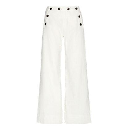 Stretch-Cotton Wide-Leg Pants