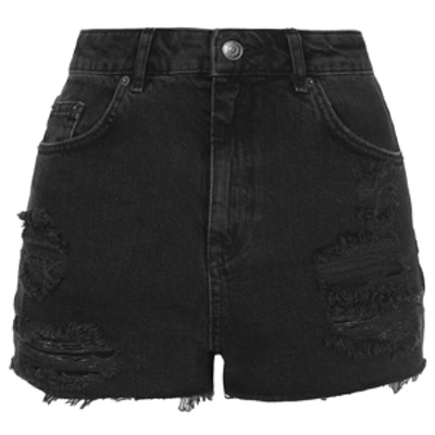 Moto Black Ripped Mom Shorts