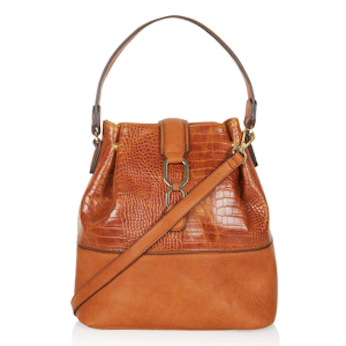 Croc-Effect Bucket Bag