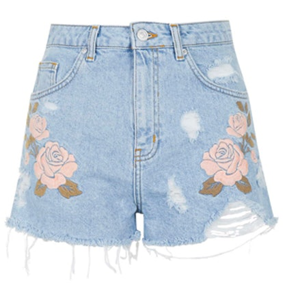 Moto Embroidered Mom Shorts