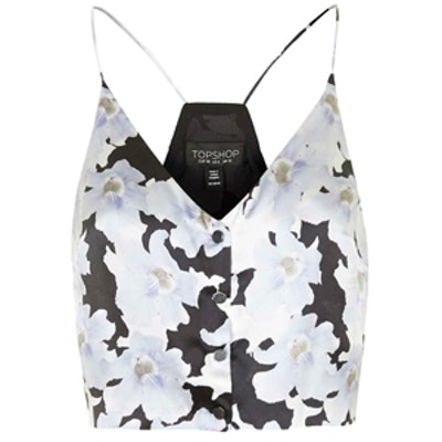 Silk Floral Printed Cropped Cami
