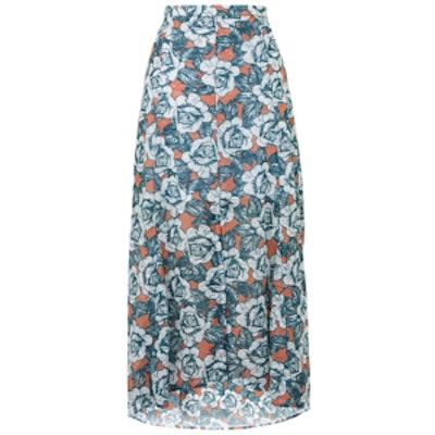 Split Front Rose Print Skirt