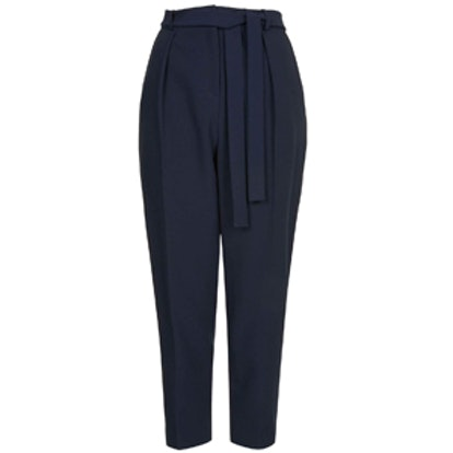 Belted Crepe Peg Trousers