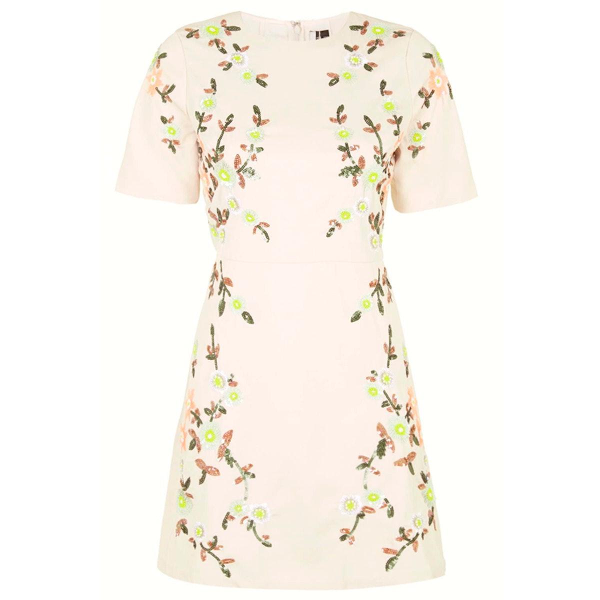 Bead Embellished A-line Dress